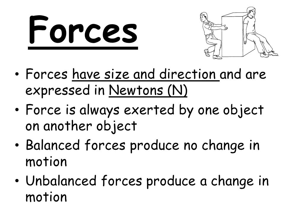 Forces Forces have size and direction and are expressed in Newtons (N)