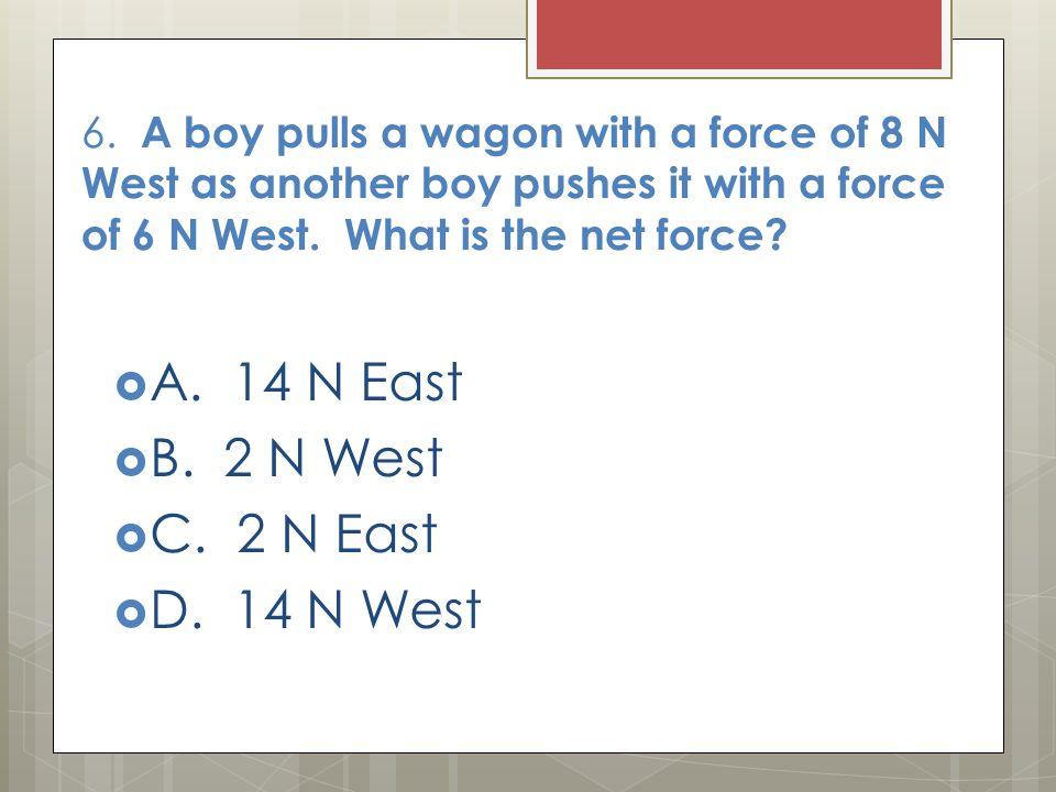 A. 14 N East B. 2 N West C. 2 N East D. 14 N West