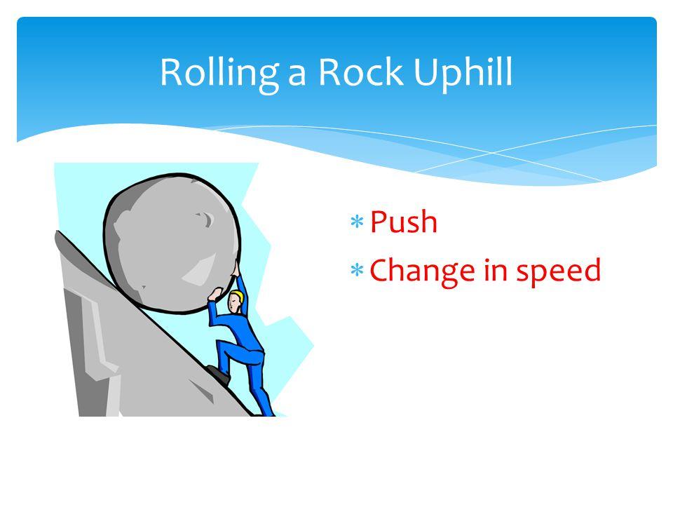 Rolling a Rock Uphill Push Change in speed