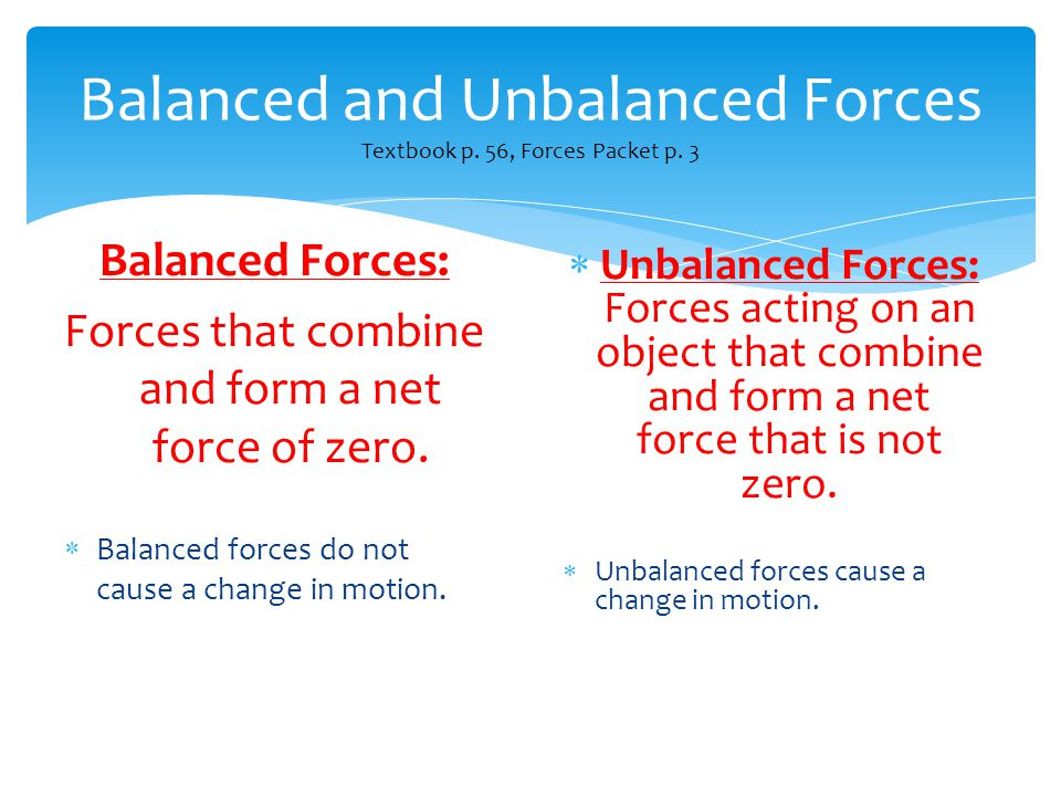 Balanced and Unbalanced Forces Textbook p. 56, Forces Packet p. 3