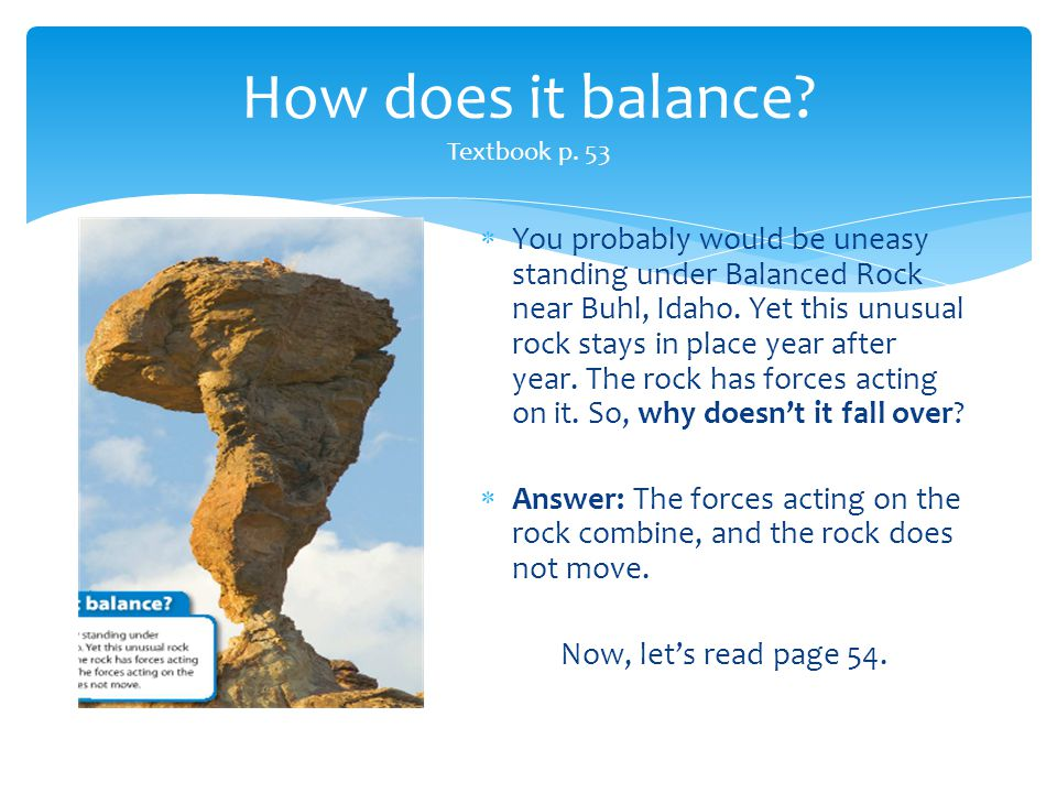 How does it balance Textbook p. 53