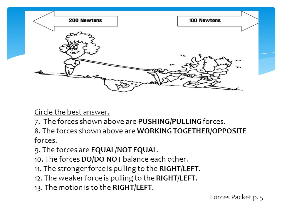 7. The forces shown above are PUSHING/PULLING forces.