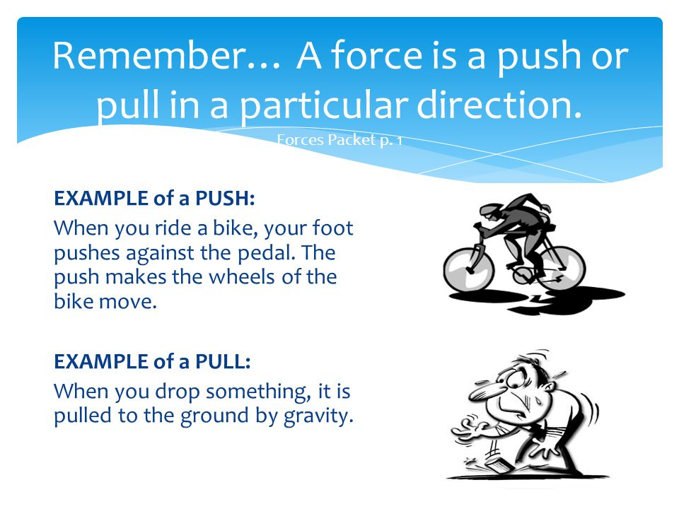 Remember… A force is a push or pull in a particular direction