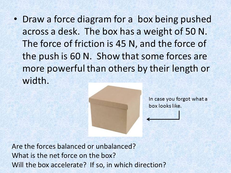Draw a force diagram for a box being pushed across a desk