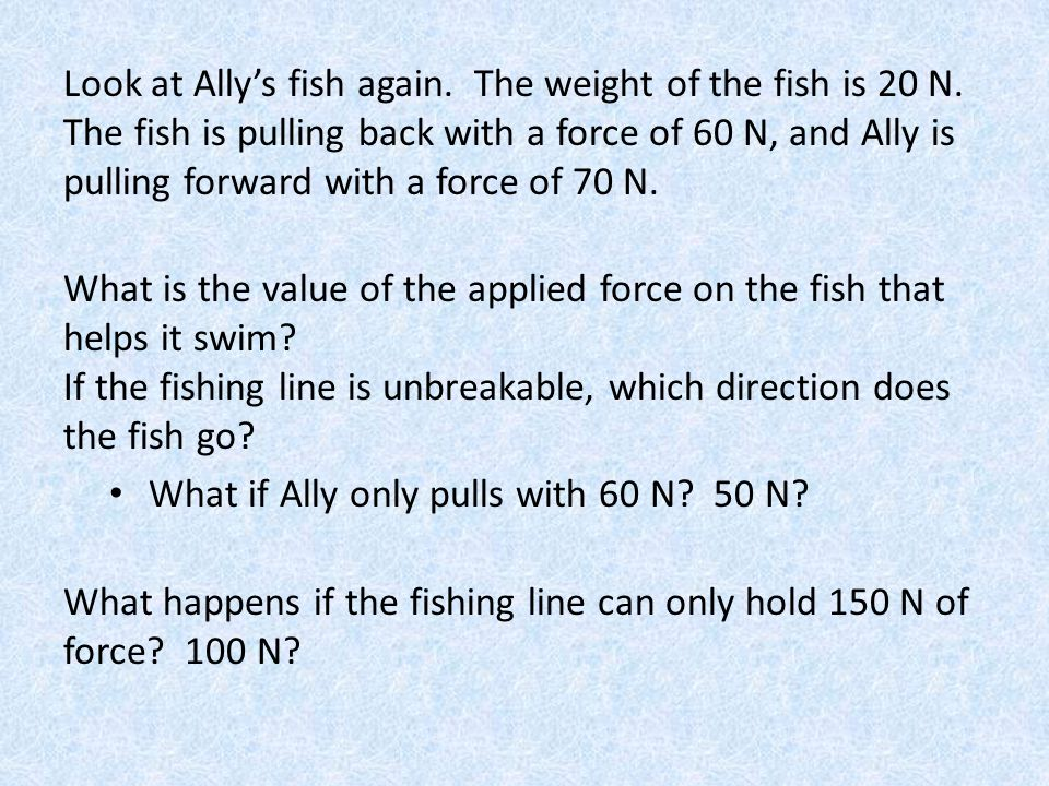Look at Ally's fish again. The weight of the fish is 20 N