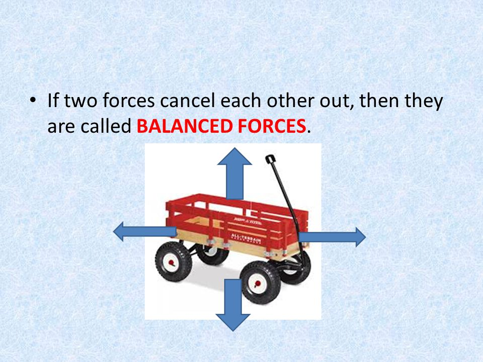 If two forces cancel each other out, then they are called BALANCED FORCES.