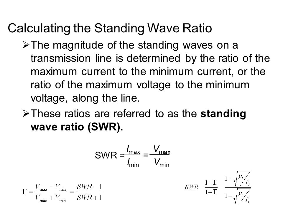 Calculating the Standing Wave Ratio