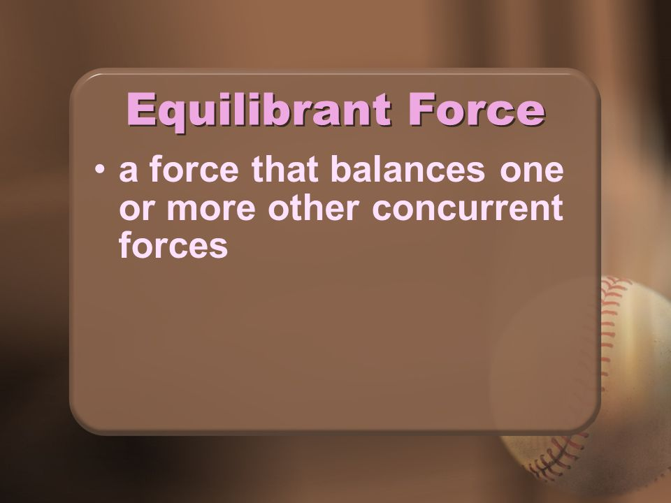 Equilibrant Force a force that balances one or more other concurrent forces