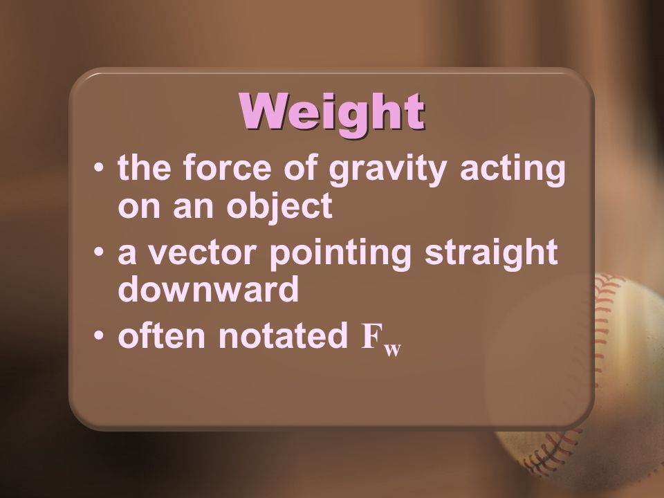 Weight the force of gravity acting on an object