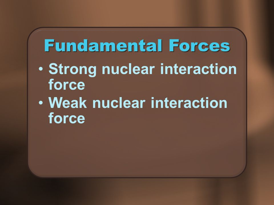 Fundamental Forces Strong nuclear interaction force