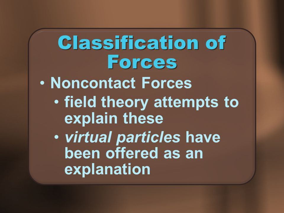 Classification of Forces