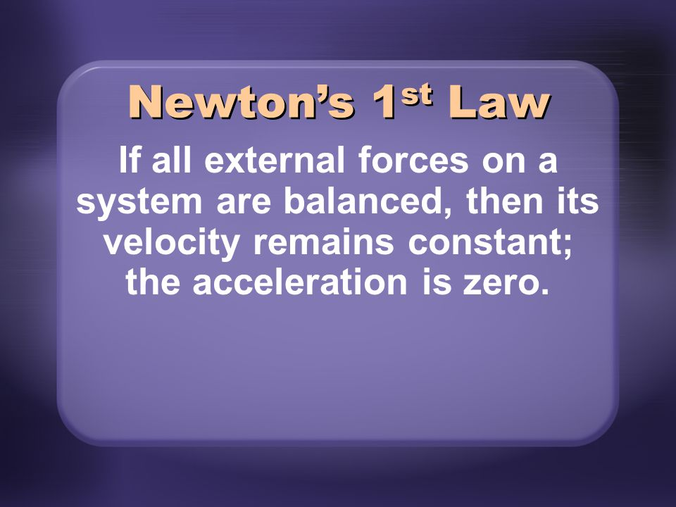 Newton's 1st Law If all external forces on a system are balanced, then its velocity remains constant; the acceleration is zero.