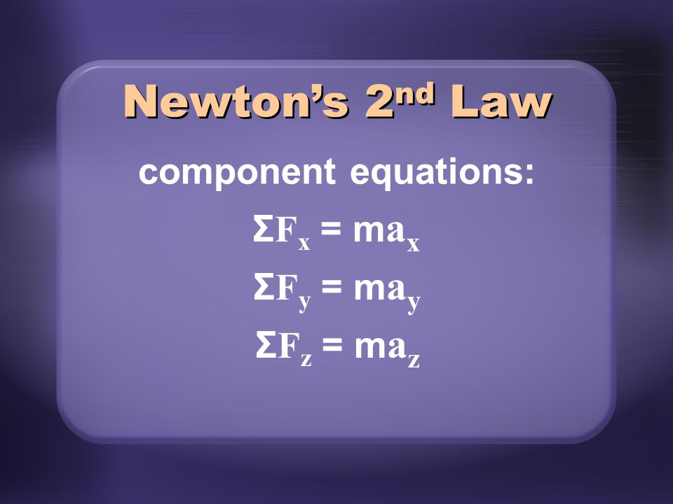 Newton's 2nd Law component equations: ΣFx = max ΣFy = may ΣFz = maz