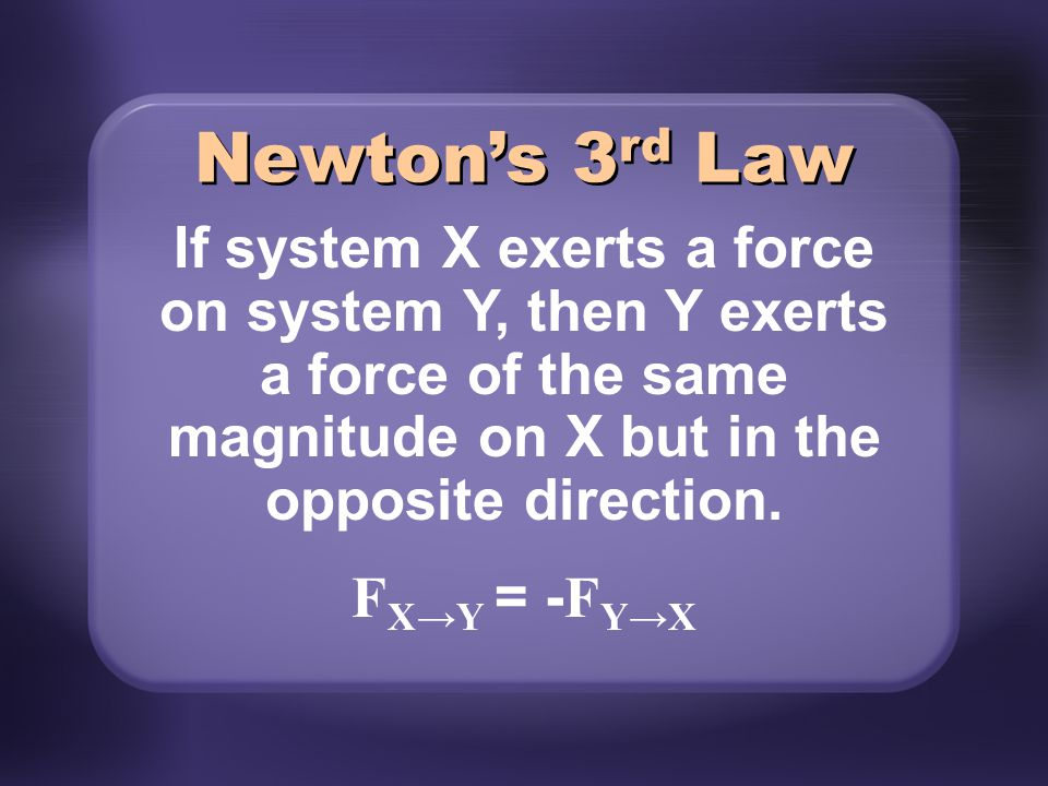 Newton's 3rd Law If system X exerts a force on system Y, then Y exerts a force of the same magnitude on X but in the opposite direction.