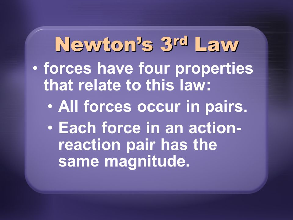 Newton's 3rd Law forces have four properties that relate to this law: