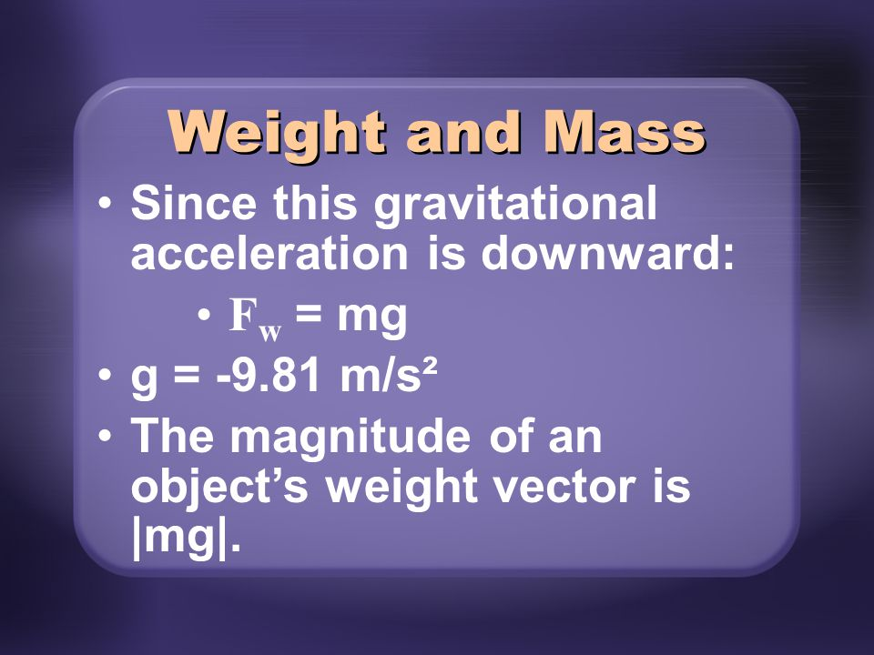 Weight and Mass Since this gravitational acceleration is downward:
