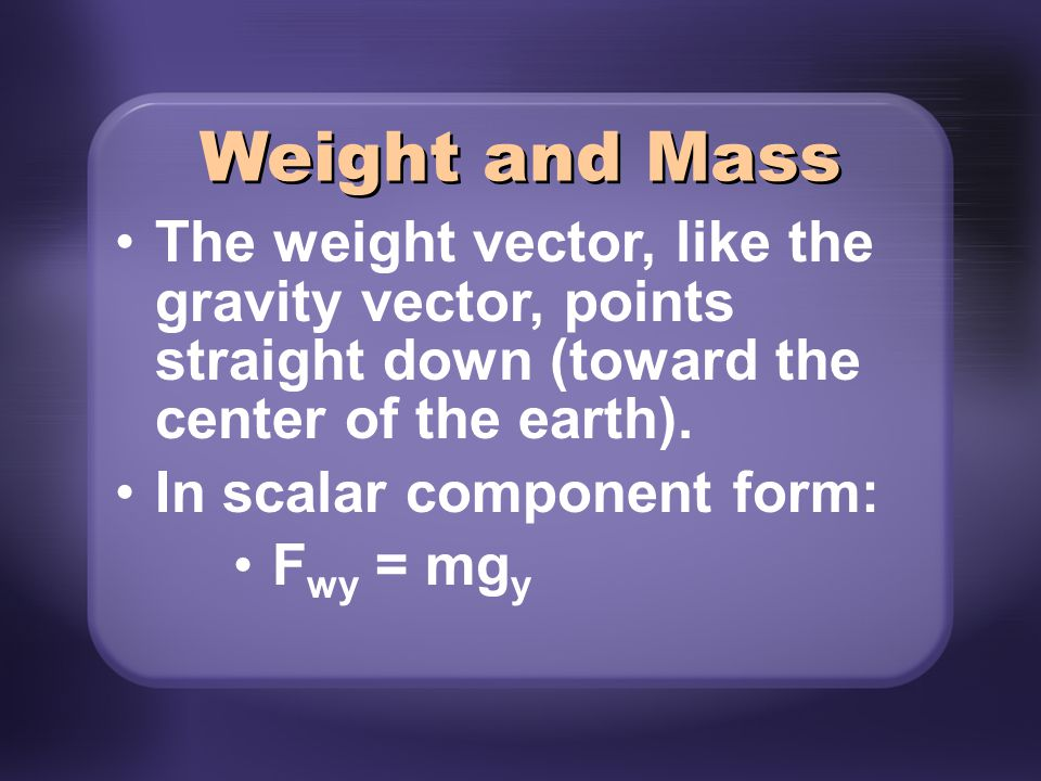 Weight and Mass The weight vector, like the gravity vector, points straight down (toward the center of the earth).