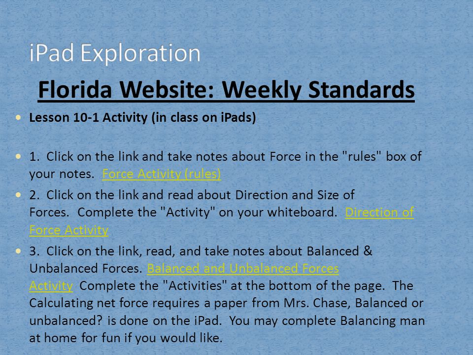 Florida Website: Weekly Standards
