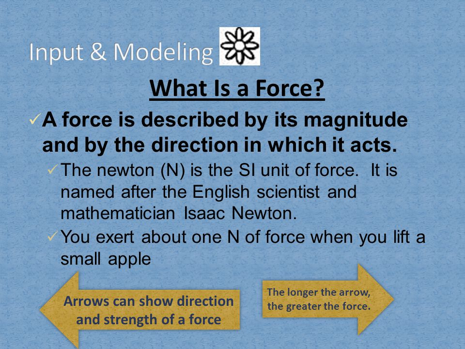 Input & Modeling What Is a Force