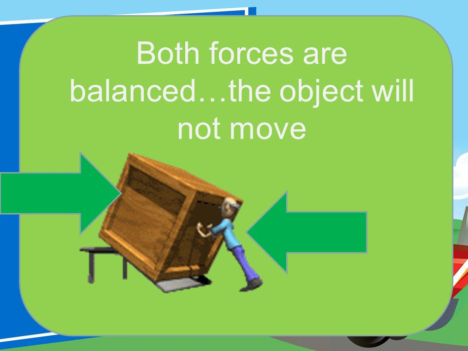 Both forces are balanced…the object will not move