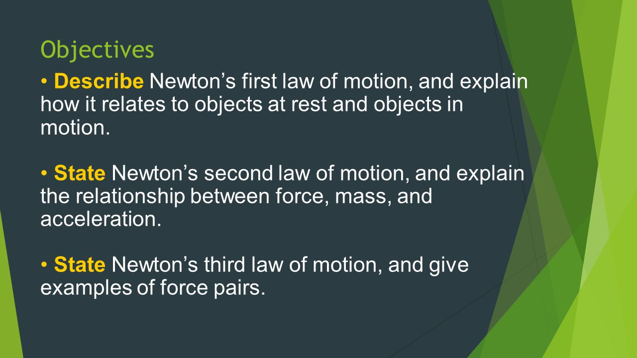 Objectives Describe Newton's first law of motion, and explain how it relates to objects at rest and objects in motion.