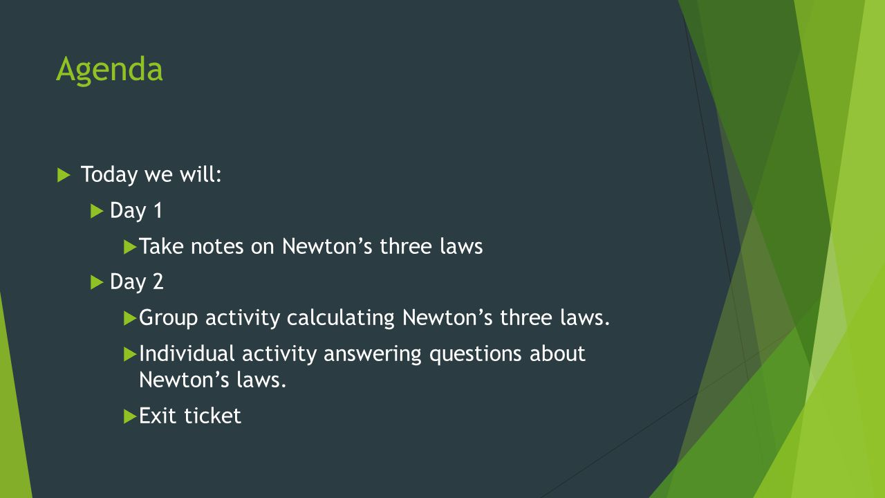 Agenda Today we will: Day 1 Take notes on Newton's three laws Day 2