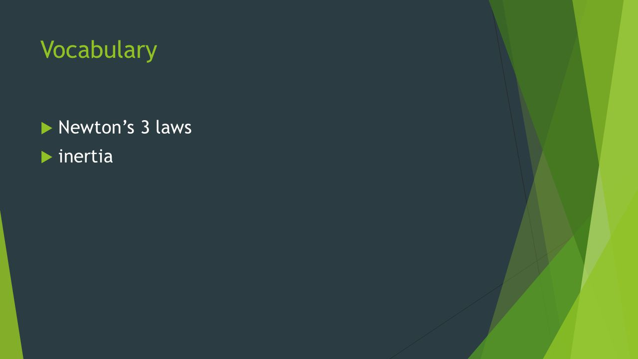 Vocabulary Newton's 3 laws inertia