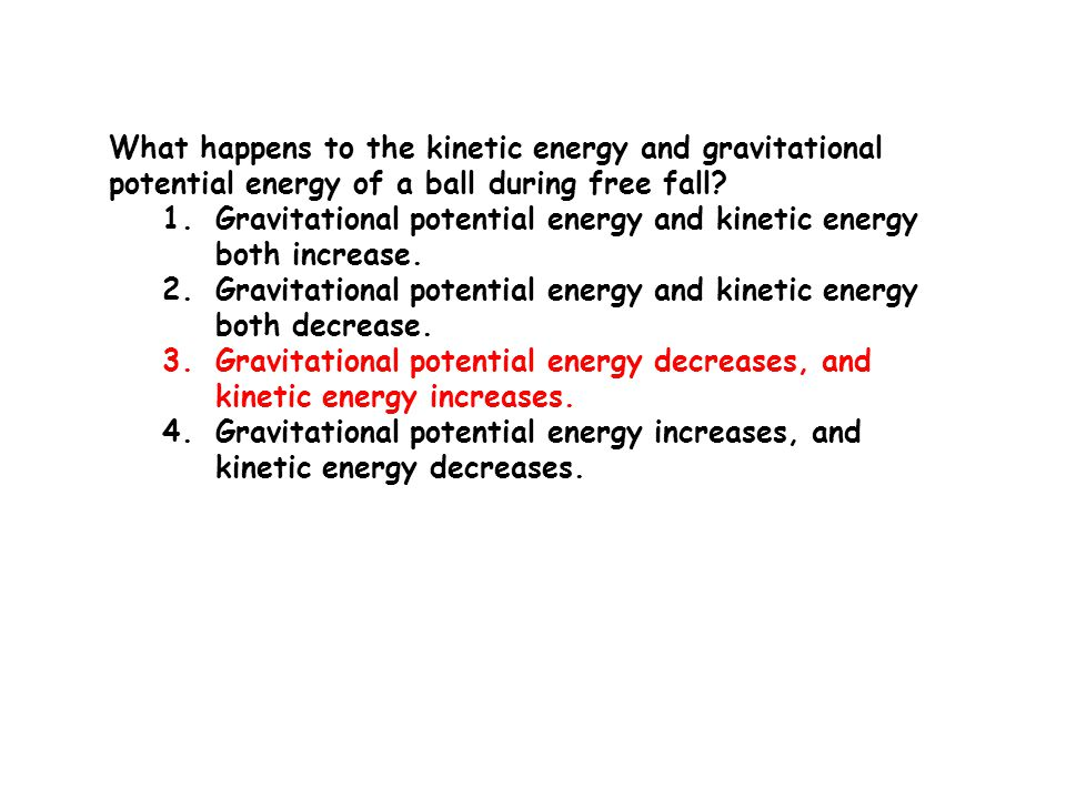 What happens to the kinetic energy and gravitational potential energy of a ball during free fall