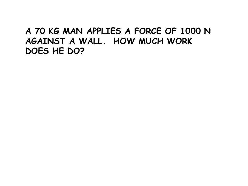 A 70 KG MAN APPLIES A FORCE OF 1000 N AGAINST A WALL