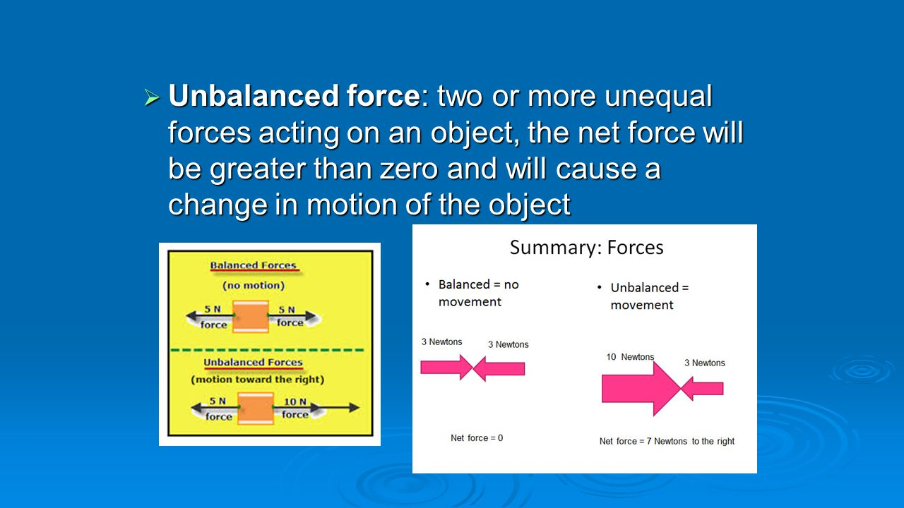 Unbalanced force: two or more unequal forces acting on an object, the net force will be greater than zero and will cause a change in motion of the object