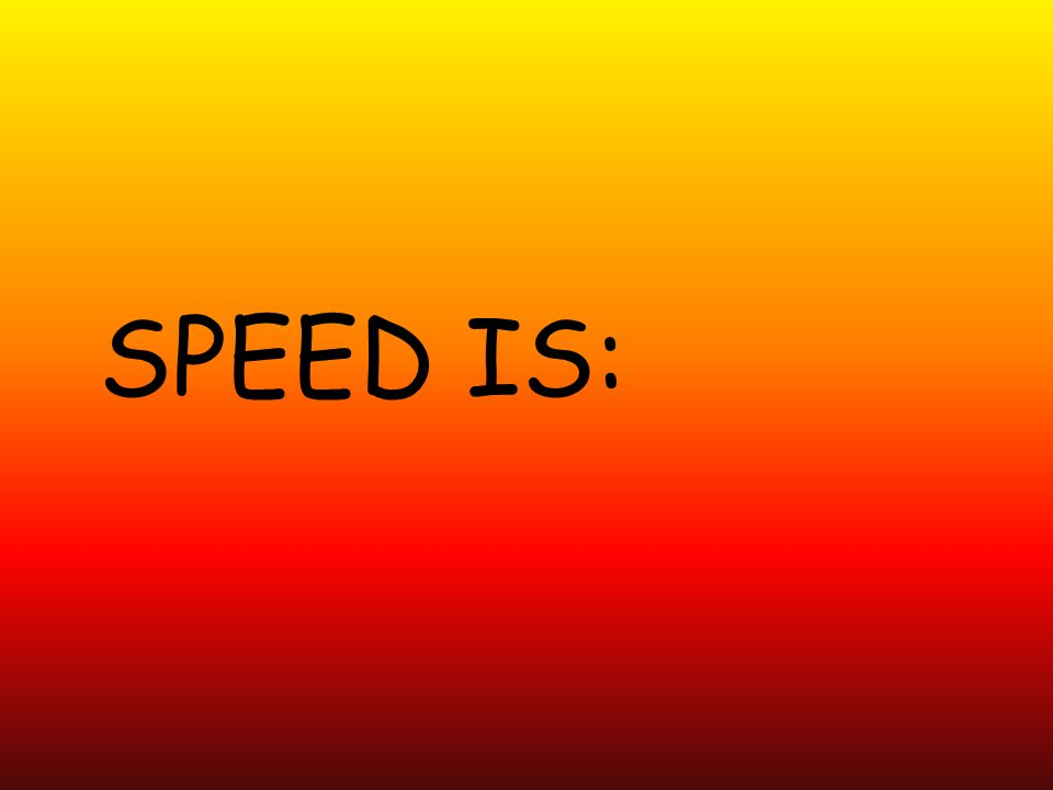 SPEED IS: