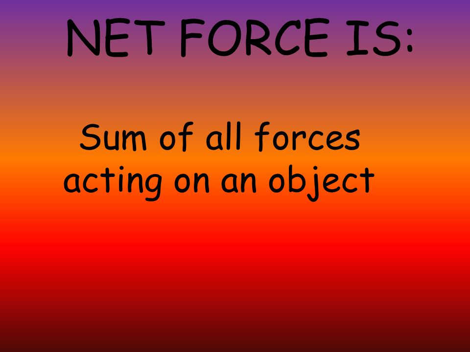 Sum of all forces acting on an object