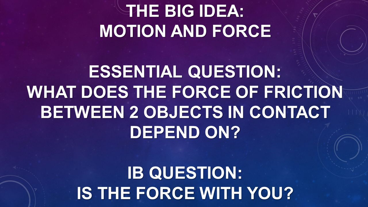 The Big Idea: Motion and Force Essential Question: What does the force of friction between 2 objects in contact depend on.