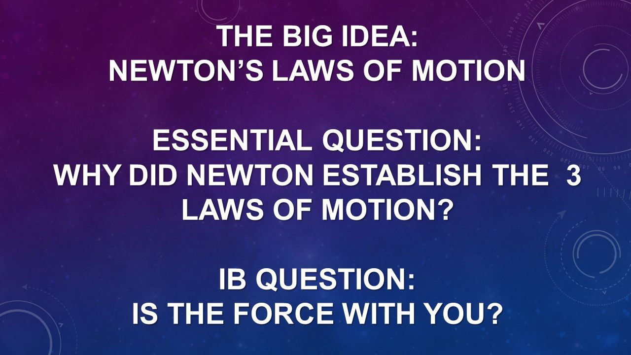 The Big Idea: Newton's Laws of motion Essential Question: Why did Newton establish the 3 laws of motion.