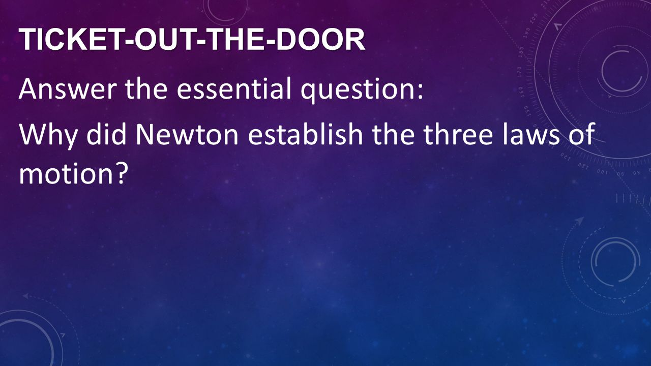 Ticket-out-the-door Answer the essential question: Why did Newton establish the three laws of motion.