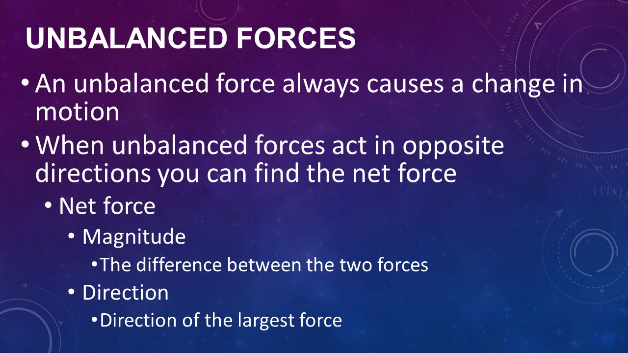 An unbalanced force always causes a change in motion