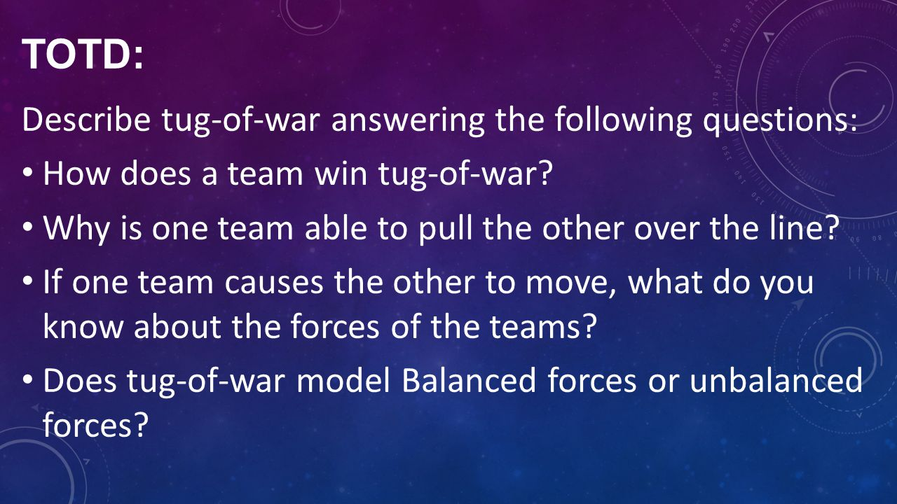 TOTD: Describe tug-of-war answering the following questions: