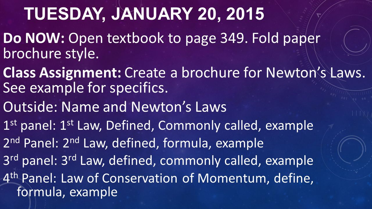 Tuesday, January 20, 2015 Do NOW: Open textbook to page 349. Fold paper brochure style.