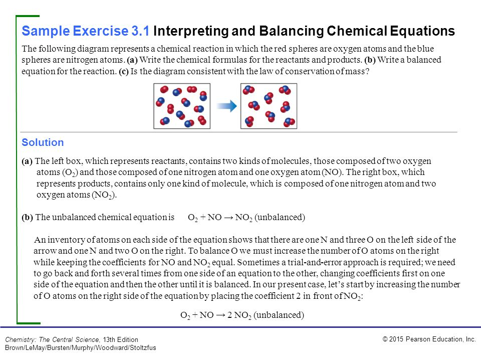 Sample Exercise 3.1 Interpreting and Balancing Chemical Equations