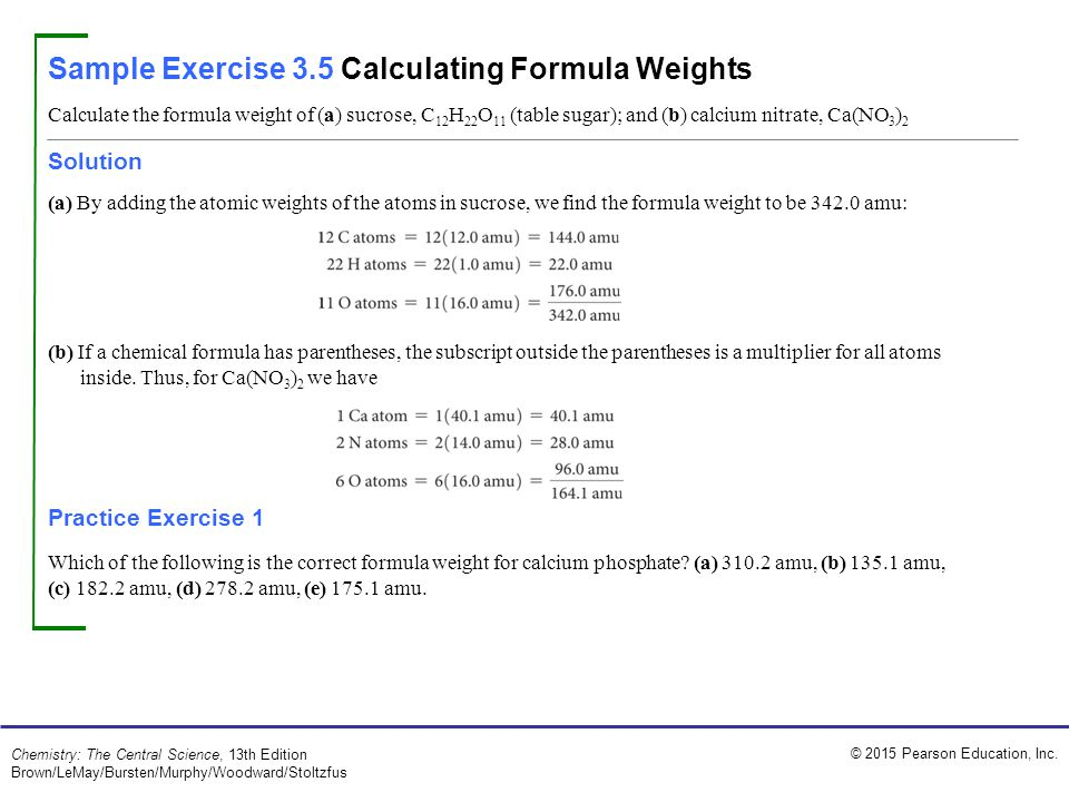 Sample Exercise 3.5 Calculating Formula Weights
