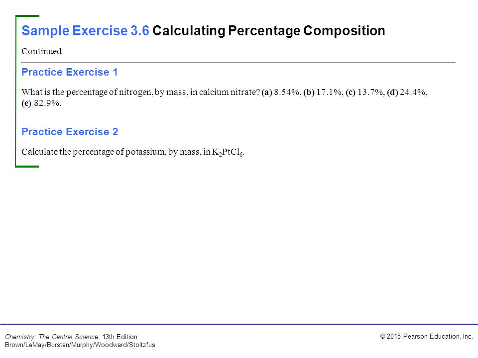 Sample Exercise 3.6 Calculating Percentage Composition