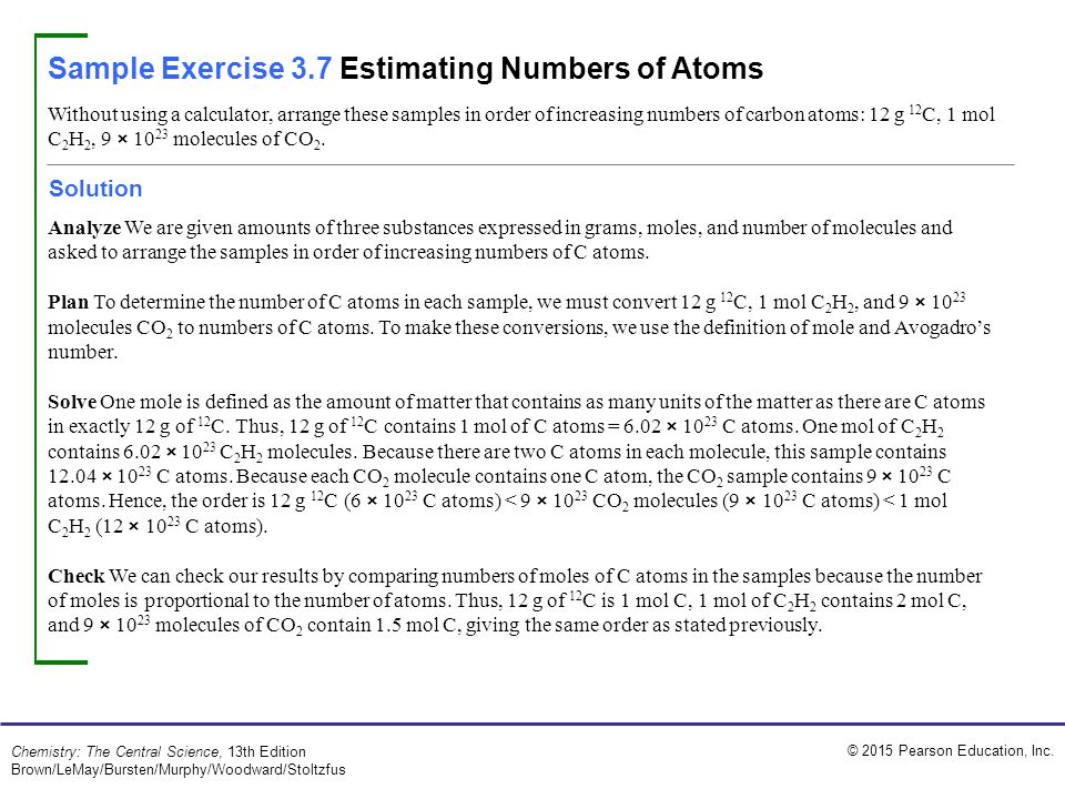 Sample Exercise 3.7 Estimating Numbers of Atoms