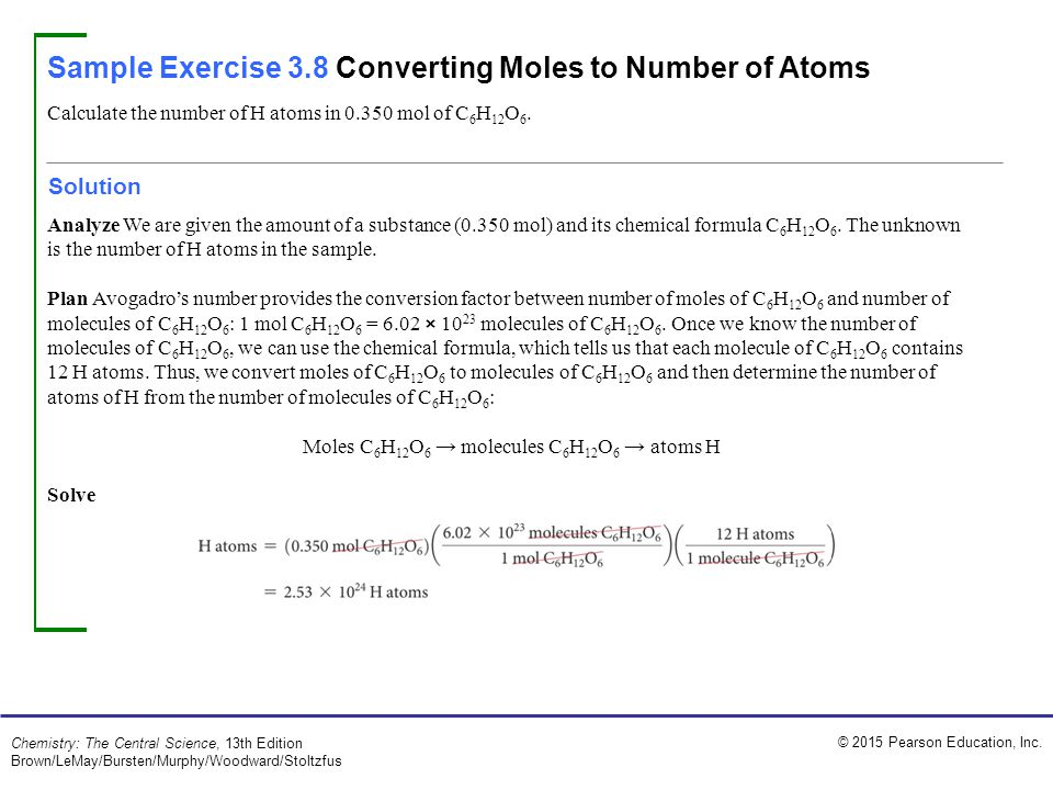 Sample Exercise 3.8 Converting Moles to Number of Atoms