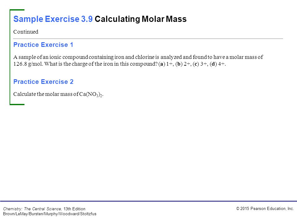 Sample Exercise 3.9 Calculating Molar Mass