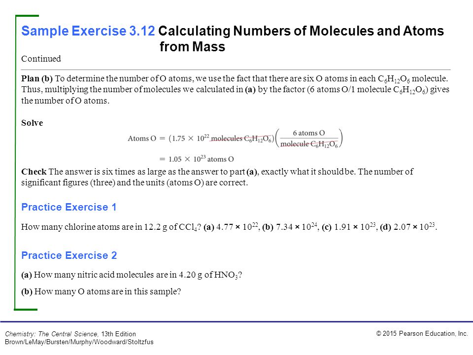 Sample Exercise 3.12 Calculating Numbers of Molecules and Atoms from Mass