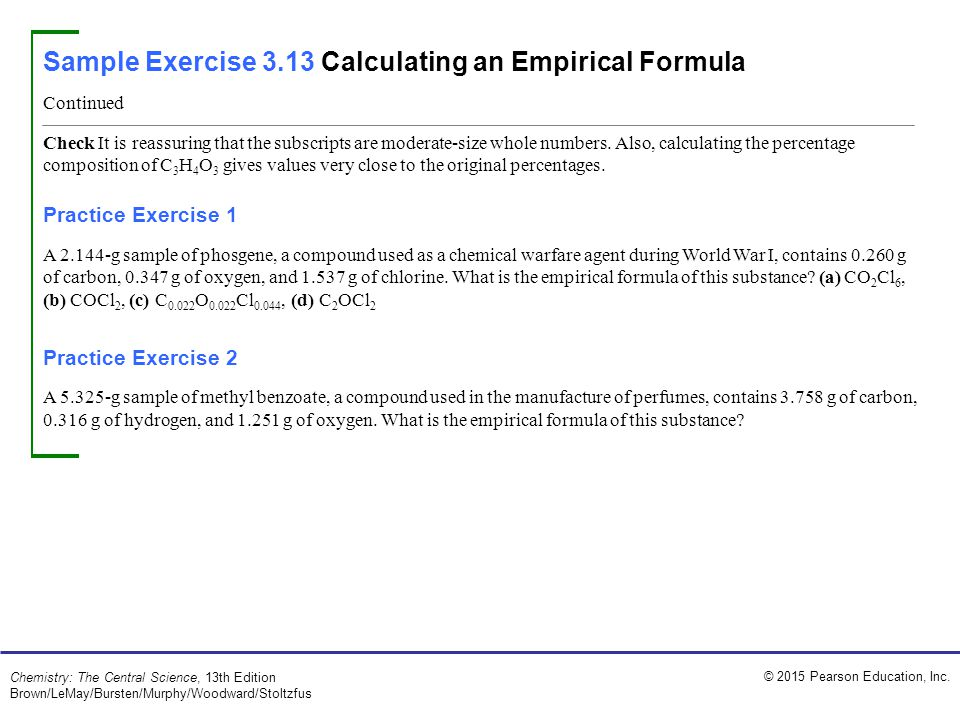Sample Exercise 3.13 Calculating an Empirical Formula