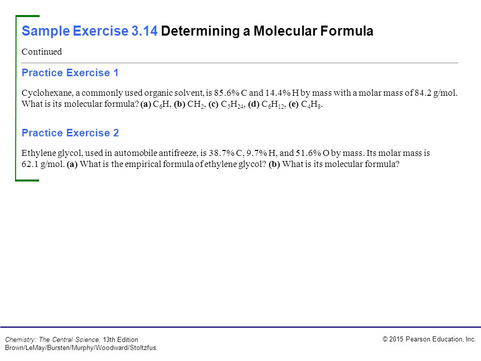 Sample Exercise 3.14 Determining a Molecular Formula