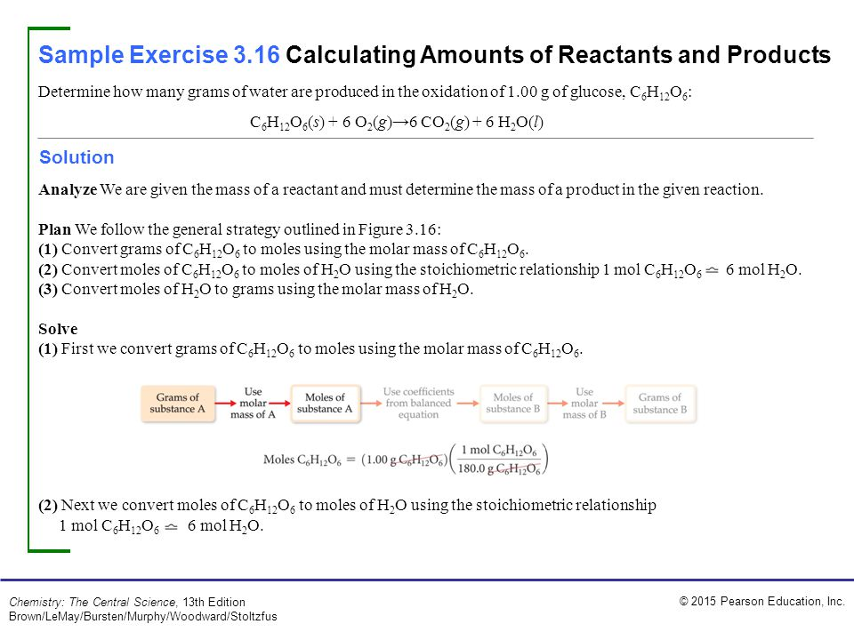 Sample Exercise 3.16 Calculating Amounts of Reactants and Products