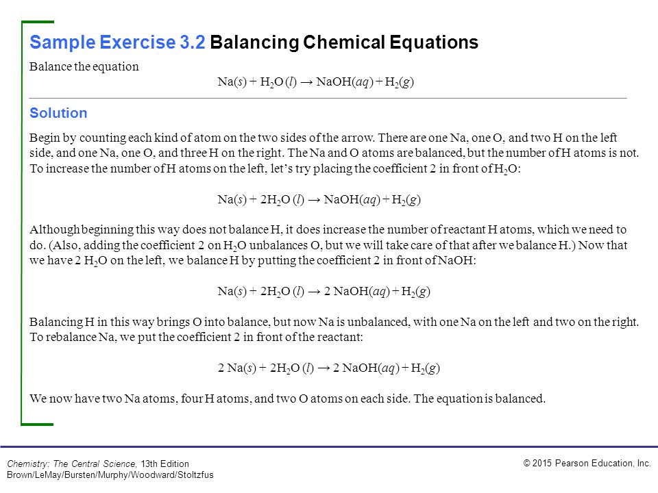 Sample Exercise 3.2 Balancing Chemical Equations