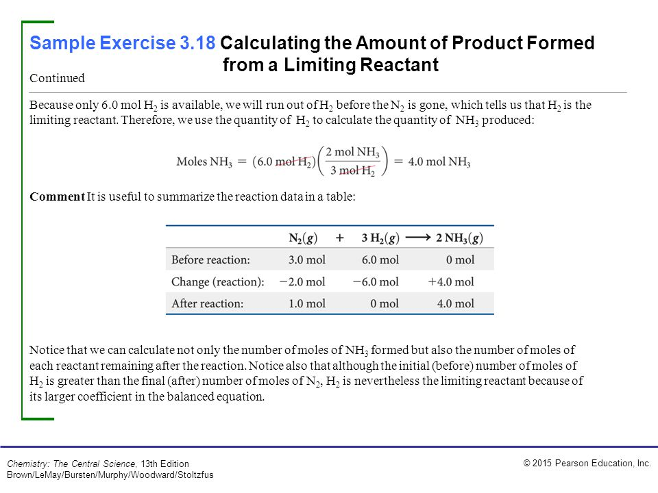Sample Exercise 3.18 Calculating the Amount of Product Formed from a Limiting Reactant